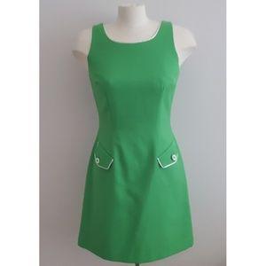 60's Mod Joseph Ribkoff Green & White Shift Dress